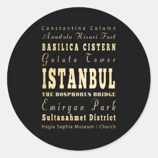 Ville d'Istanbul d'art de typographie de la Sticker Rond