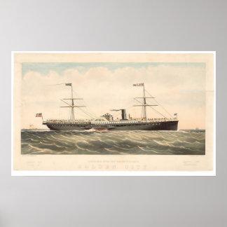 Ville d'or du bateau Co Pacifique de vapeur de cou Posters