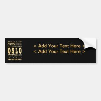 Ville d'Oslo d'art de typographie de la Norvège Autocollant Pour Voiture