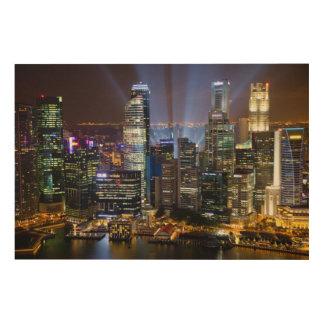 Ville du centre de Singapour la nuit Impression Sur Bois