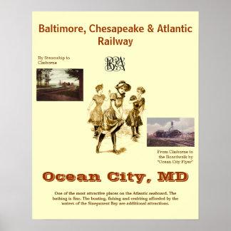 Ville le Maryland, affiche vintage d'océan de Posters