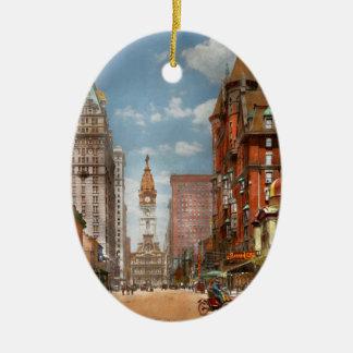 Ville - PA Philadelphie - large rue 1905 Ornement Ovale En Céramique