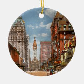 Ville - PA Philadelphie - large rue 1905 Ornement Rond En Céramique