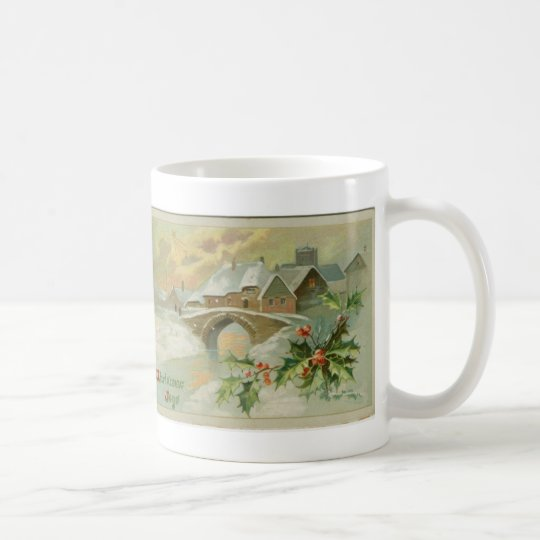 Ville vintage de Noël avec le houx Mug