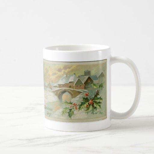 Ville vintage de Noël avec le houx Tasses À Café