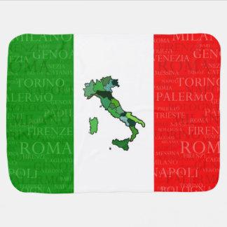 Villes, carte, et drapeau de l'Italie Couvertures Pour Bébé