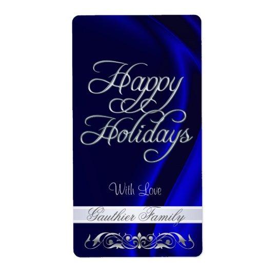 Vin bleu de rouleau d'argent de satin bonnes fêtes étiquette d'expédition