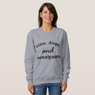 Vin, chiens, et sweatshirt de pantalon de