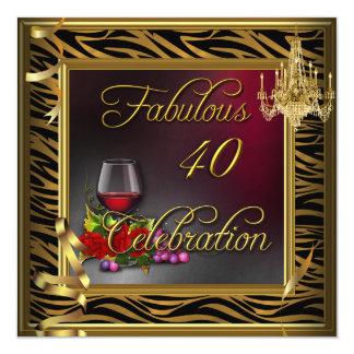 Vin de 40 de célébration de zèbre roses fabuleux carton d'invitation  13,33 cm