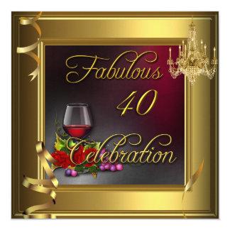 Vin de 40 de célébration fabuleuse roses crème carton d'invitation  13,33 cm