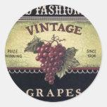 Vin de raisins de vieille mode, pourpre et noir adhésif rond