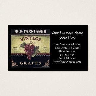 Vin de raisins de vieille mode, pourpre et noir cartes de visite