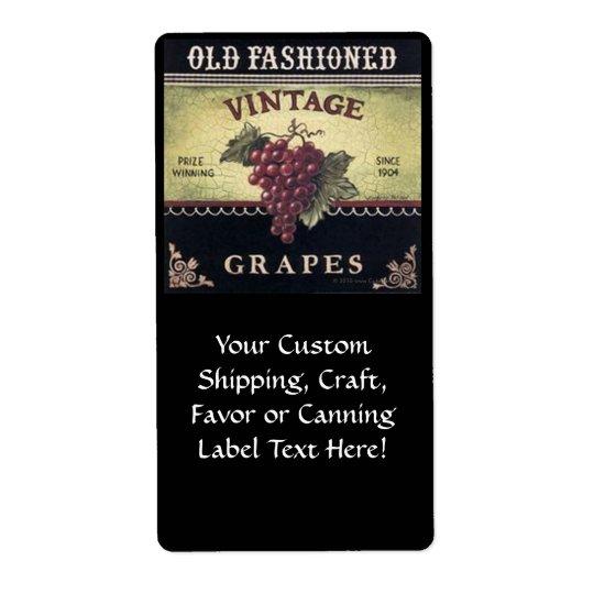 Vin de raisins de vieille mode, pourpre et noir vi étiquette d'expédition