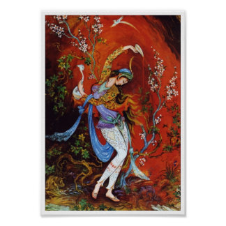 Vin de versement de peinture de fille persane de c affiches
