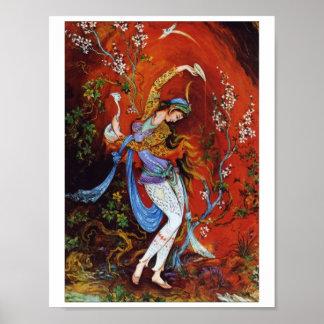 Vin de versement de peinture de fille persane de poster