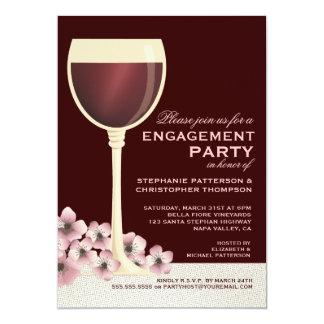 Vin élégant et partie de fiançailles florale de carton d'invitation  12,7 cm x 17,78 cm