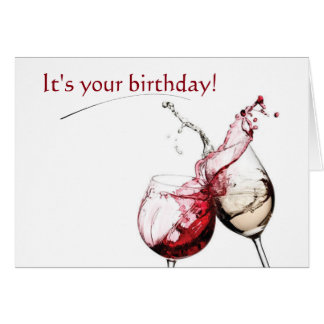 Vin et carte de souhaits d'anniversaire