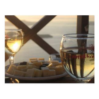 Vin et fromage carte postale