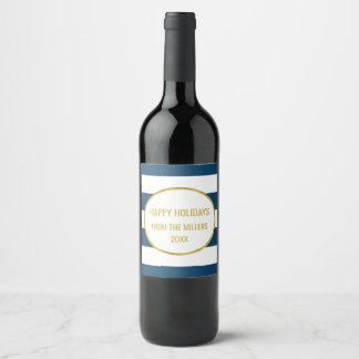 Vin fait sur commande de Noël d'or de rayure de Étiquette Pour Bouteilles De Vin