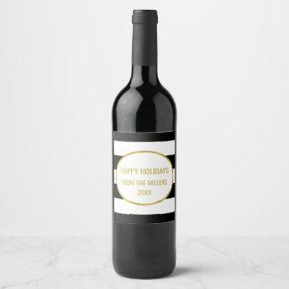 Vin fait sur commande de Noël d'or noir de rayure Étiquette Pour Bouteilles De Vin