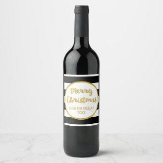 Vin noir de Joyeux Noël d'or de rayure Étiquette Pour Bouteilles De Vin