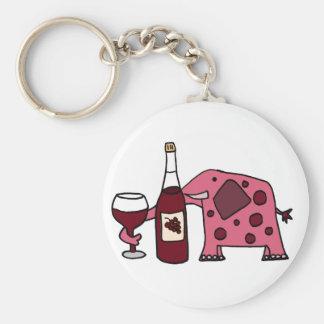 Vin potable d'éléphant rose porte-clé rond