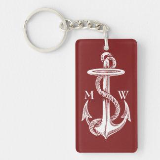 Vin rouge blanc vintage de corde d'ancre nautique porte-clefs