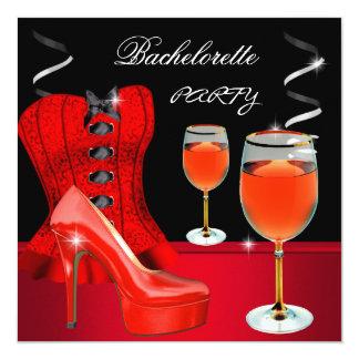 Vin rouge de noir de corset de chaussure de partie carton d'invitation  13,33 cm