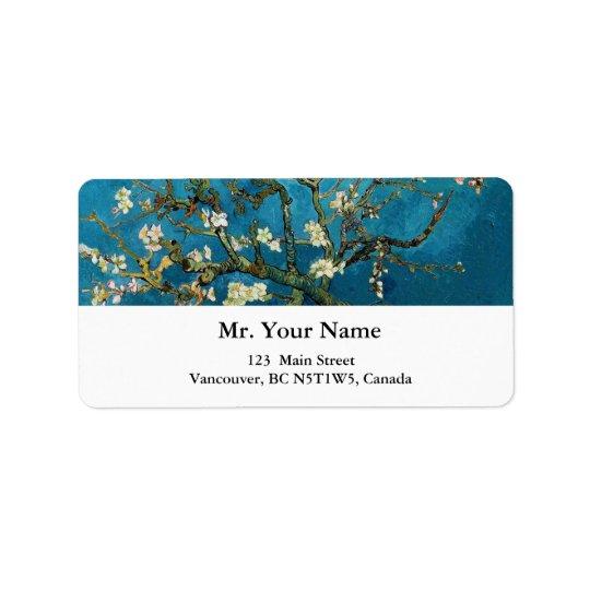 Vincent van Gogh, arbre d'amande de floraison Étiquette D'adresse