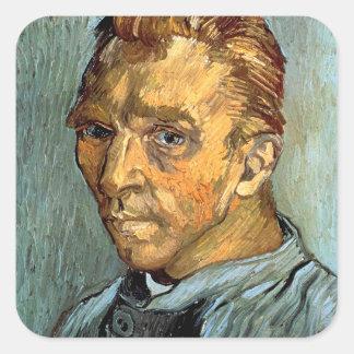 VINCENT VAN GOGH - autoportrait sans barbe Sticker Carré