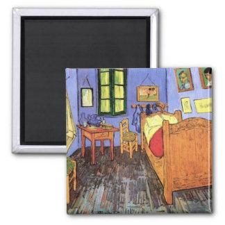 Vincent van Gogh - chambre à coucher en beaux-arts Magnet Carré
