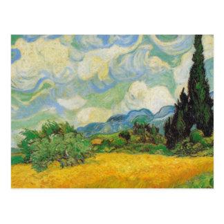 Vincent van Gogh - champ de blé avec des cyprès Carte Postale