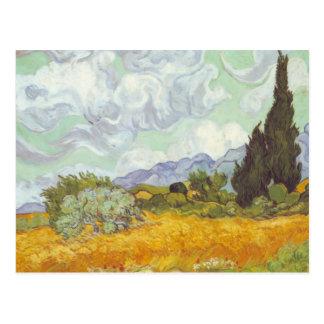 Vincent van Gogh - champ de blé avec des cyprès Cartes Postales