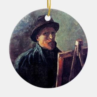 Vincent van Gogh - chapeau de feutre d'obscurité Ornement Rond En Céramique