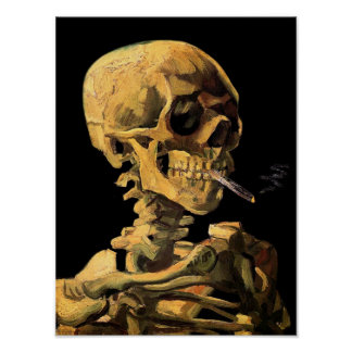 Vincent van Gogh - crâne avec la cigarette Poster