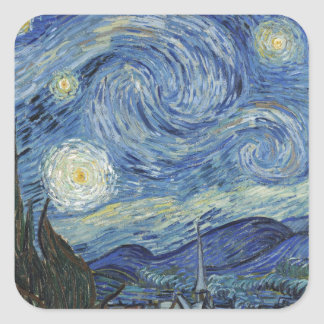 Vincent van Gogh | la nuit étoilée, juin 1889 Sticker Carré