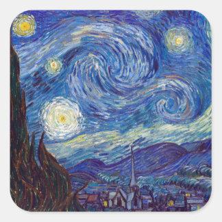 VINCENT VAN GOGH - nuit étoilée 1889 Sticker Carré
