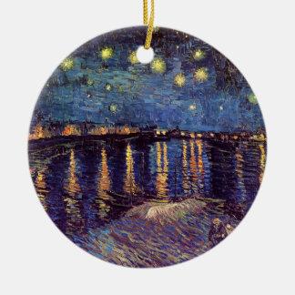 Vincent van Gogh - nuit étoilée sur le Rhône Ornement Rond En Céramique