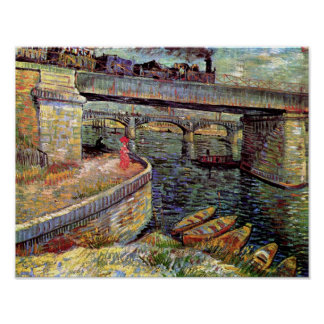 Vincent van Gogh - ponts à travers la Seine Poster