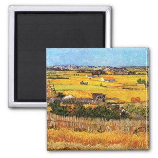 Vincent van Gogh - récolte aux beaux-arts de Crau Magnet Carré