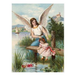 Vintage anges anges gardien avec des filles carte postale