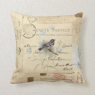 Vintage Bird Flowers French Postcard Pillow Oreiller