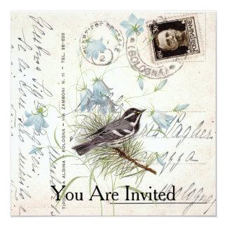 Vintage Bird Flowers Italian Postcard Invitation