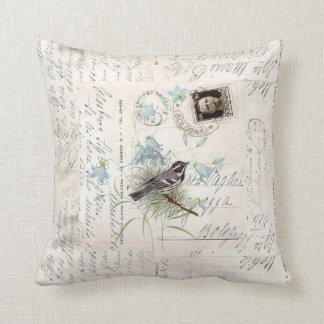 Vintage Bird Flowers Italian Postcard Pillow Oreiller