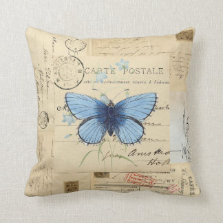 Vintage Blue Butterfly French Postcard Pillow Oreillers