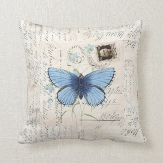 Vintage Blue Butterfly Italian Postcard Pillow Coussin