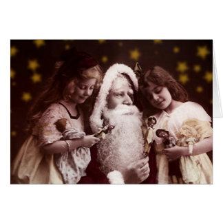 Vintage carte de précaution de vin Santa Claus