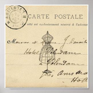 Vintage Dress Form French Postcard Art Print Poster
