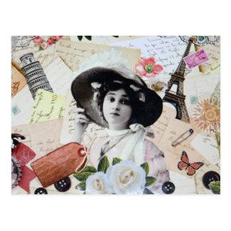 Vintage élégant dame avec chapeau, roses et carte postale