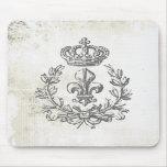 Vintage Fleur de Lis et protection de Couronne-sou Tapis De Souris